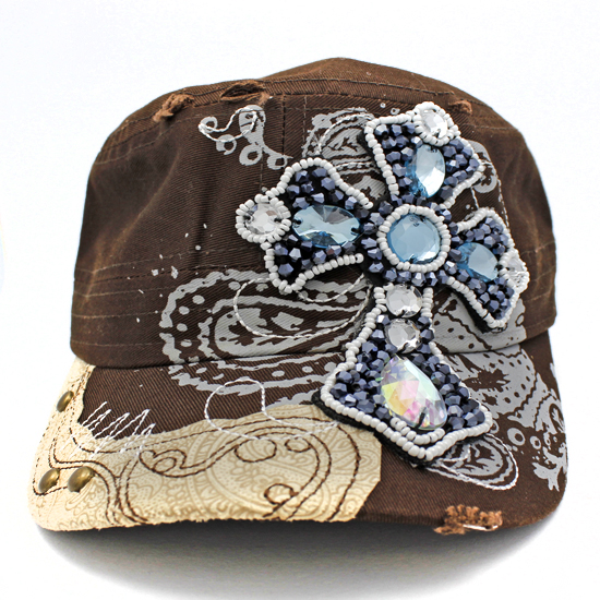 CAD-NEW-CR-55-BROWN - WHOLESALE RHINESTONE CROSS CADET STYLE CAPS