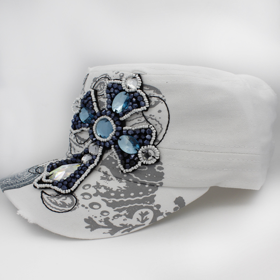CAD-NEW-CR-55-WHITE - WHOLESALE RHINESTONE CROSS CADET STYLE CAPS