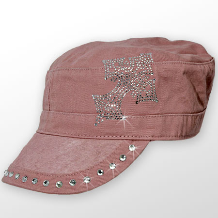 HDCD-CR-PINK - WHOLESALE RHINESTONE HAIR ON HIDE CAPS