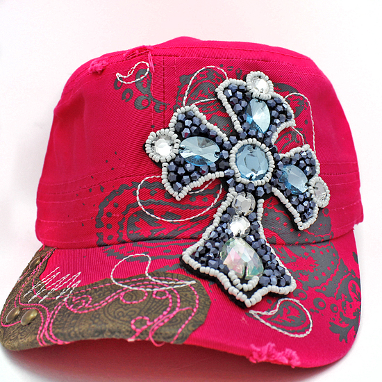 CAD-NEW-CR-55-PINK - WHOLESALE RHINESTONE CROSS CADET STYLE CAPS