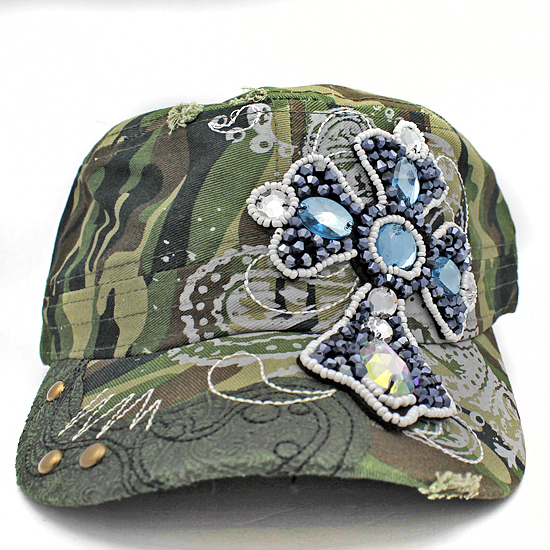 CAD-NEW-CR-55-CAMO - WHOLESALE RHINESTONE CROSS CADET STYLE CAPS