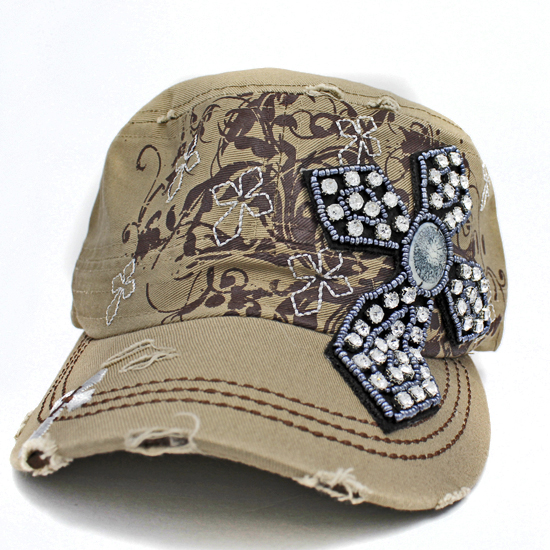 CAD-NEW-CR-62-KHAKI - WHOLESALE RHINESTONE CROSS CADET STYLE CAPS