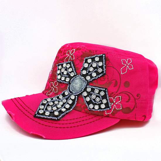 CAD-NEW-CR-62-PINK - WHOLESALE RHINESTONE CROSS CADET STYLE CAPS