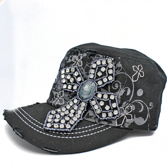 CAD-NEW-CR-62-BLACK - WHOLESALE RHINESTONE CROSS CADET STYLE CAPS