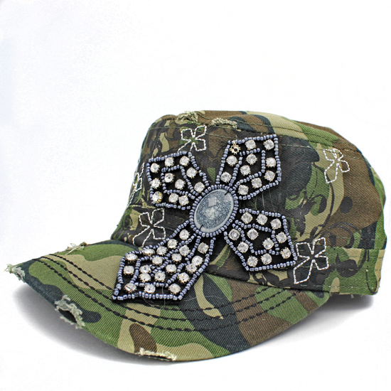 CAD-NEW-CR-62-CAMO - WHOLESALE RHINESTONE CROSS CADET STYLE CAPS