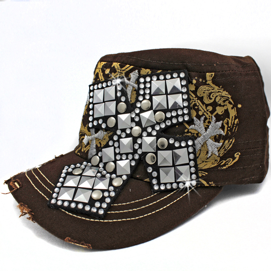 CAD-NEW-048-BROWN - WHOLESALE RHINESTONE CROSS CADET STYLE CAPS