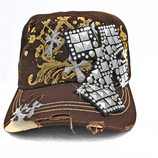 CAD-NEW-CR-1-BROWN - WHOLESALE RHINESTONE CROSS CADET STYLE CAPS