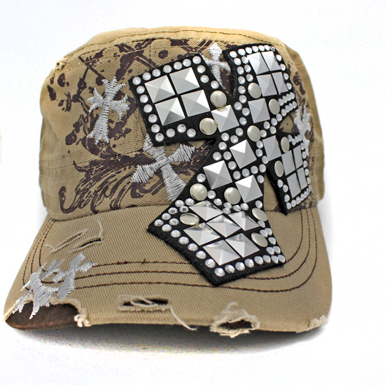 CAD-NEW-CR-1-KHAKI - WHOLESALE RHINESTONE CROSS CADET STYLE CAPS