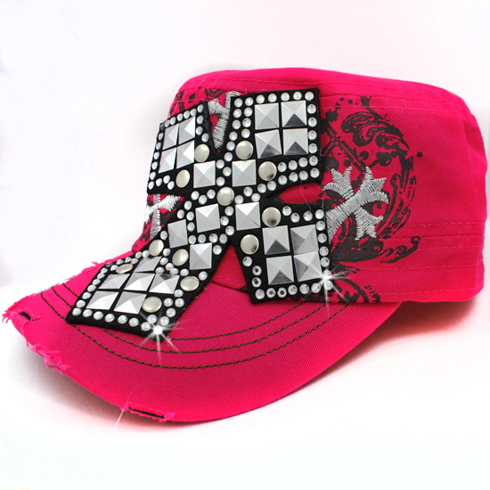 CAD-NEW-048-PINK - WHOLESALE RHINESTONE CROSS CADET STYLE CAPS