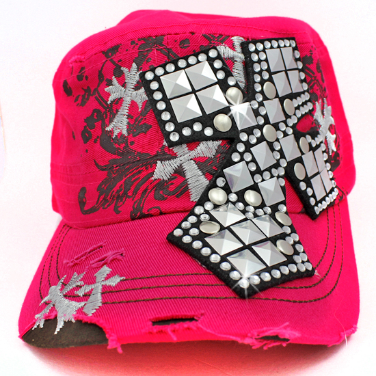 CAD-NEW-CR-1-PINK - WHOLESALE RHINESTONE CROSS CADET STYLE CAPS