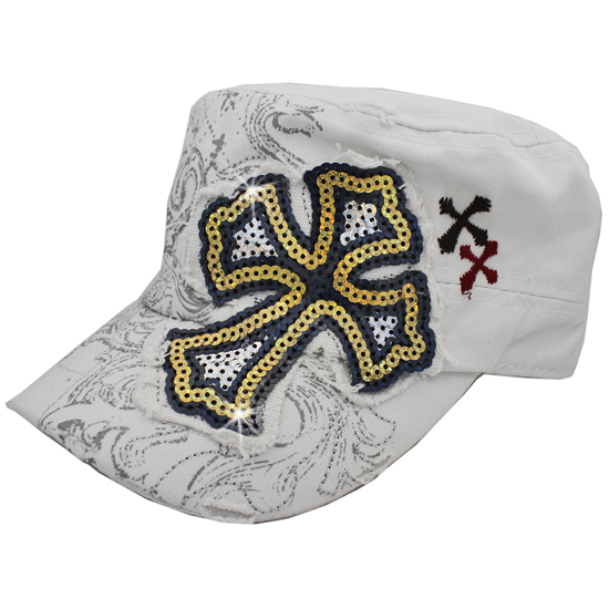CAD-NEW-SEQ-CR-WHITE - WHOLESALE RHINESTONE CROSS CADET STYLE CAPS