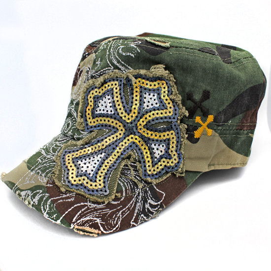 CAD-NEW-SEQ-CR-CAMO - WHOLESALE RHINESTONE CROSS CADET STYLE CAPS