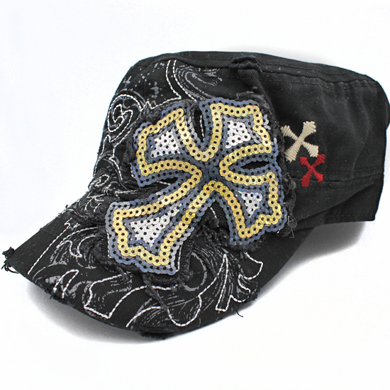 CAD-NEW-SEQ-CR-BLACK - WHOLESALE RHINESTONE CROSS CADET STYLE CAPS
