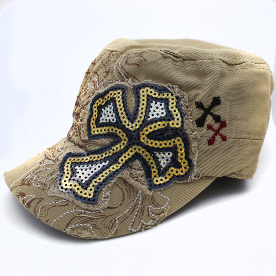 CAD-NEW-SEQ-CR-KHAKI - WHOLESALE RHINESTONE CROSS CADET STYLE CAPS