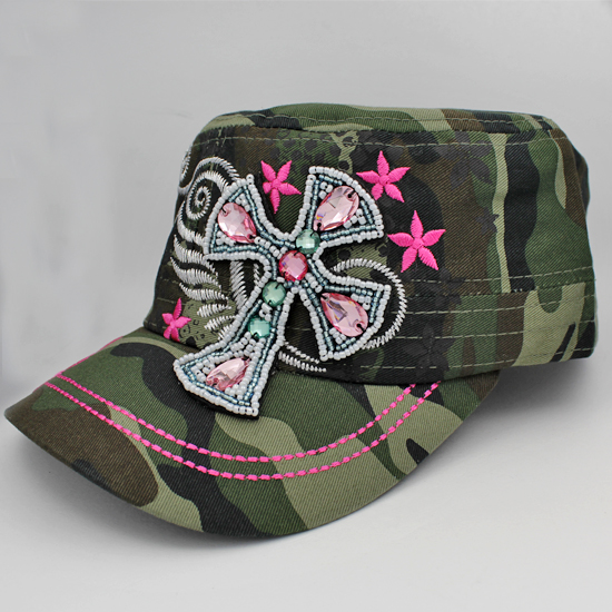 CAD-NEW-BEAD-CR-CAMO - WHOLESALE RHINESTONE CROSS CADET STYLE CAPS