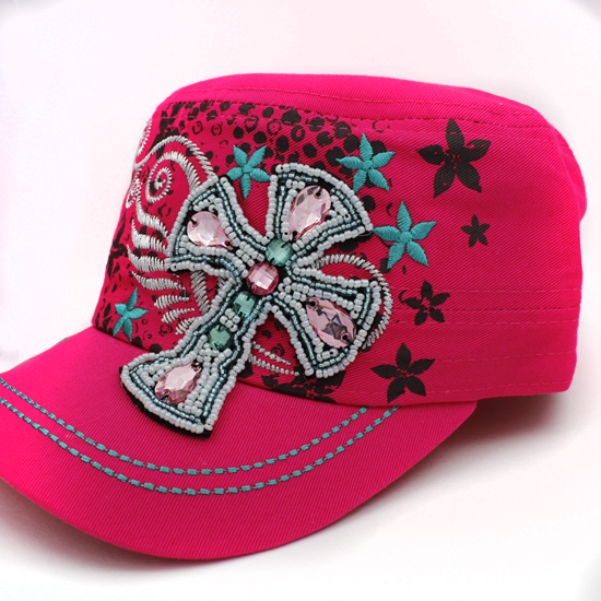 CAD-NEW-BEAD-CR-PINK - WHOLESALE RHINESTONE CROSS CADET STYLE CAPS