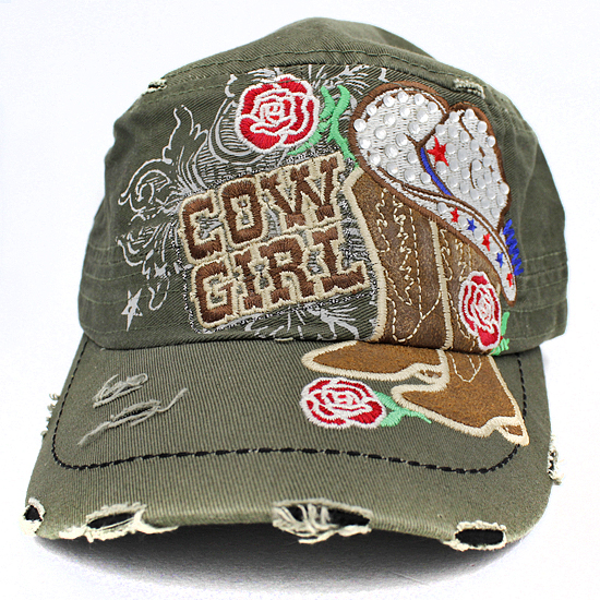 CAD-NEW-COWGIRL-BROWN - WHOLESALE RHINESTONE CADET STYLE CAPS