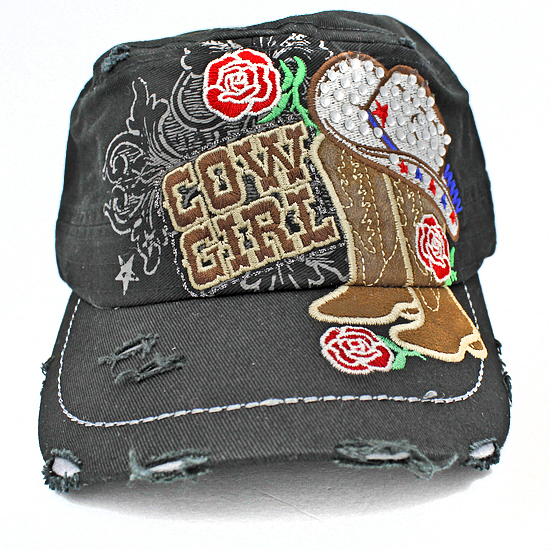 CAD-NEW-COWGIRL-BLACK - WHOLESALE RHINESTONE CADET STYLE CAPS