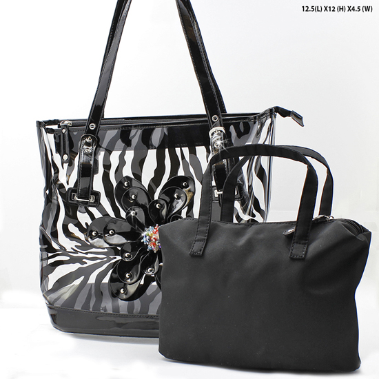 CAR-5052-BLACK - RHINESTONE BUCKLE PURSES