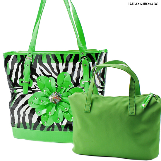 CAR-5052-LIME - RHINESTONE BUCKLE PURSES