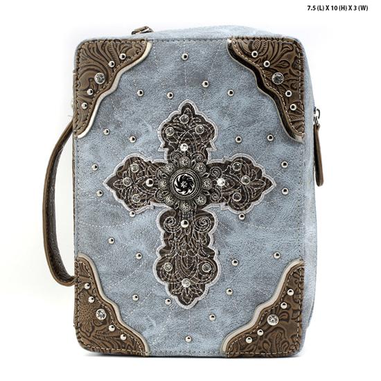 CBB4-455-BLUE - WHOLESALE BIBLE COVERS/ RHIENSTONE CROSS BIBE CASES
