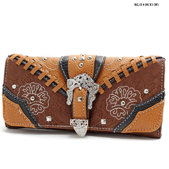 FLWR-CBC-030-BROWN - WHOLESALE WOMENS WESTERN BUCKLE WALLET