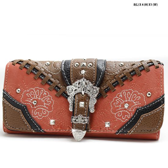 FLWR-CBC-030-SPICE - WHOLESALE WOMENS WESTERN BUCKLE WALLET
