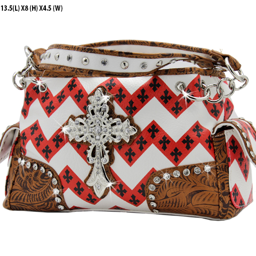 CDB001--RED - WHOLESALE CHEVRON PRINT RHINESTONE CROSS HANDBAGS