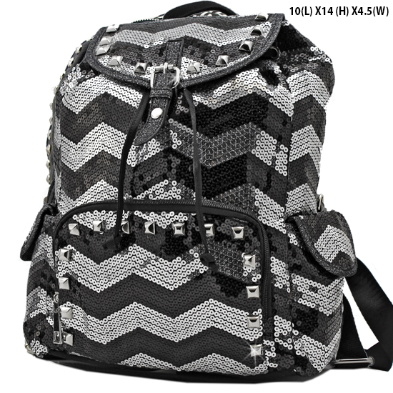 CHQ-04-BK/WT - WHOLESALE BACKPACKS-SEQUIN CHEVRON PRINT BACKPACK