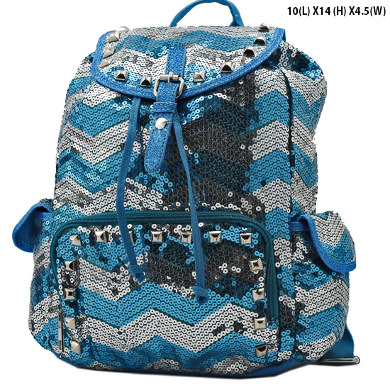 CHQ-04-TURQ - WHOLESALE BACKPACKS-SEQUIN CHEVRON PRINT BACKPACK