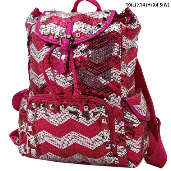 CHQ-04-HTPK - WHOLESALE BACKPACKS-SEQUIN CHEVRON PRINT BACKPACK