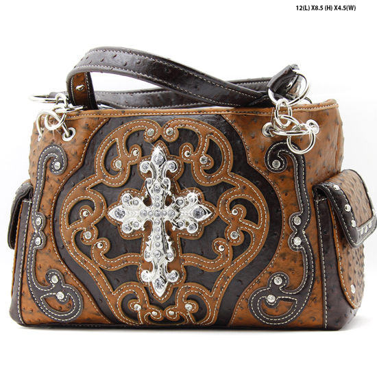 CL-893-TAN - WHOLESALE WESTERN TOOLED CROSS PURSES