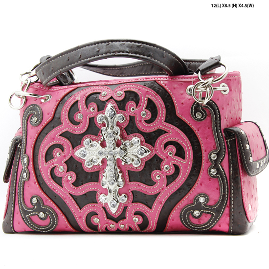 CL-893-HTPK - WHOLESALE WESTERN TOOLED CROSS PURSES