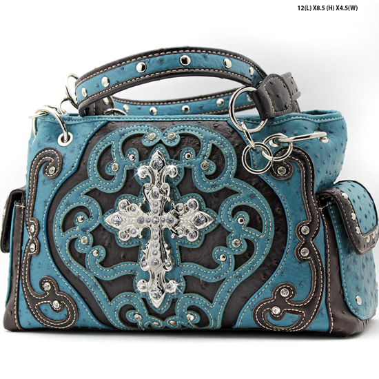 CL-893-TURQ - WHOLESALE WESTERN TOOLED CROSS PURSES