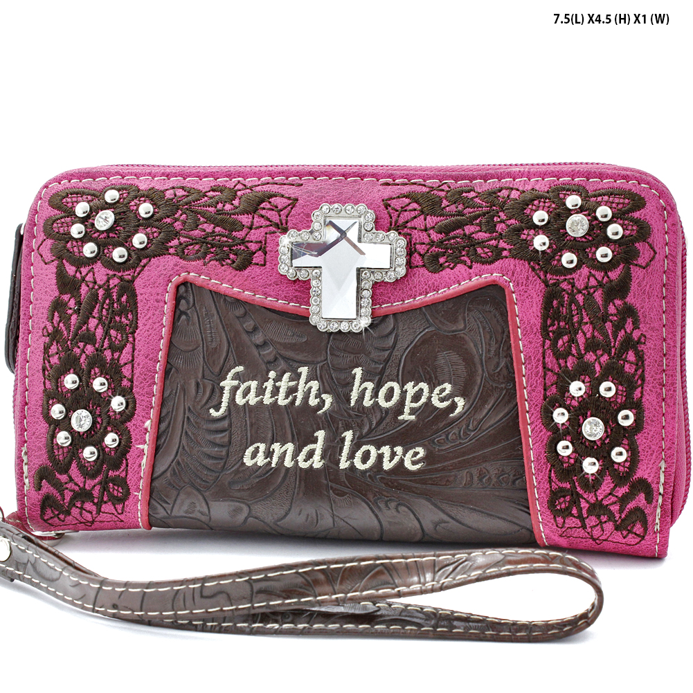 CP-245-PINK - WHOLESALE WOMENS WESTERN BUCKLE WALLET