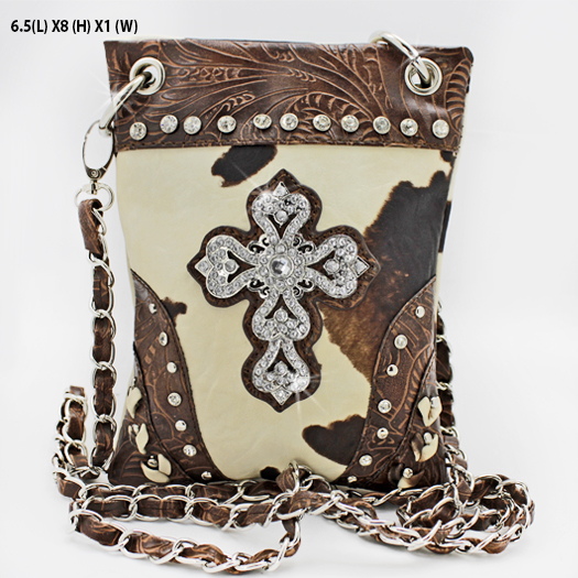 CP67-W1-COW-LCR-BRO - WHOLESALE RHINESTONE CRYSTAL CELLPHONE CASES/POUCHES