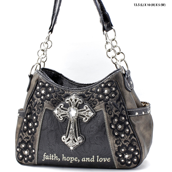 CP-869-PEWTER - WHOLESALE WESTERN CROSS BIBLE VERSE PURSES