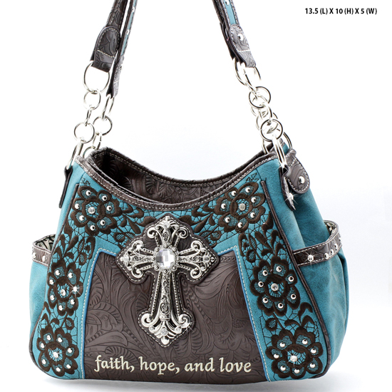 CP-869-TURQ - WHOLESALE WESTERN CROSS BIBLE VERSE PURSES
