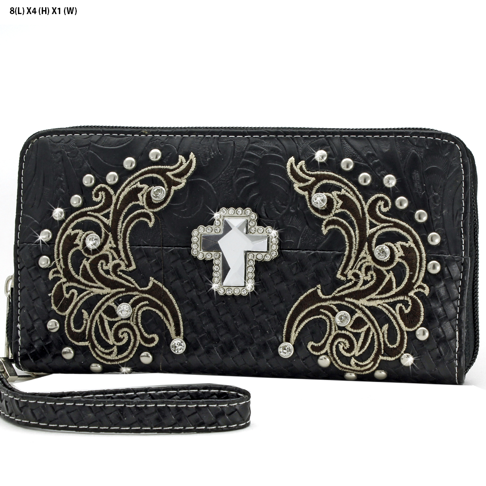 CRE-245-BLACK - WHOLESALE WOMENS WESTERN BUCKLE WALLET