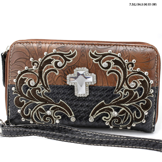 CRE-245-BROWN - WHOLESALE WOMENS WESTERN BUCKLE WALLET