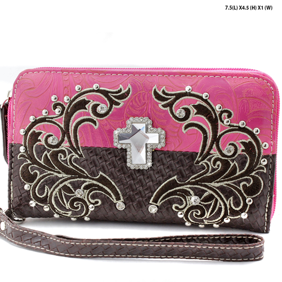 CRE-245-PINK - WHOLESALE WOMENS WESTERN BUCKLE WALLET