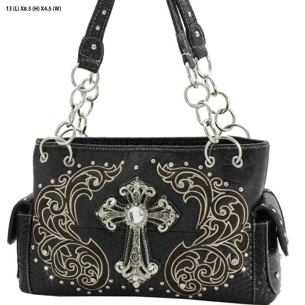 CRE-893-BLACK - WHOLESALE WESTERN CROSS PURSES