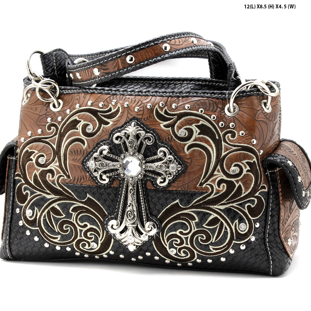 CRE-893-BROWN - WHOLESALE WESTERN CROSS PURSES