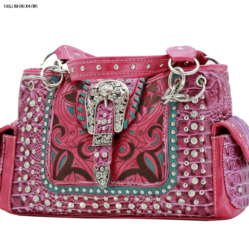 Rhinestone Buckle Purses - CRO-93-PINK Western Concealed Carry Weapon Buckle Handbags Embroidered Purses