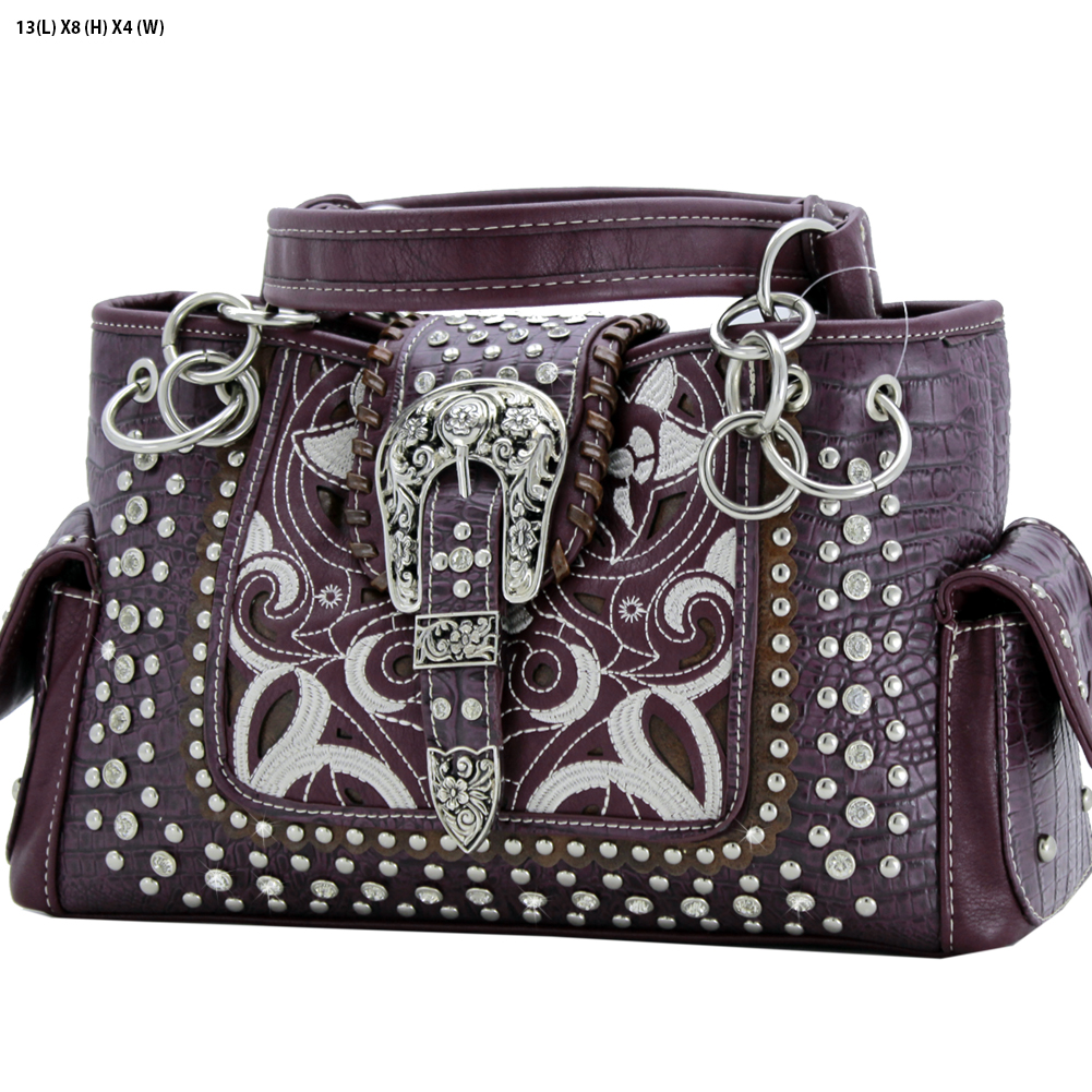 Rhinestone Buckle Purses - CRO-93-LT-PUR Western Concealed Carry Weapon Buckle Handbags Embroidered Purses