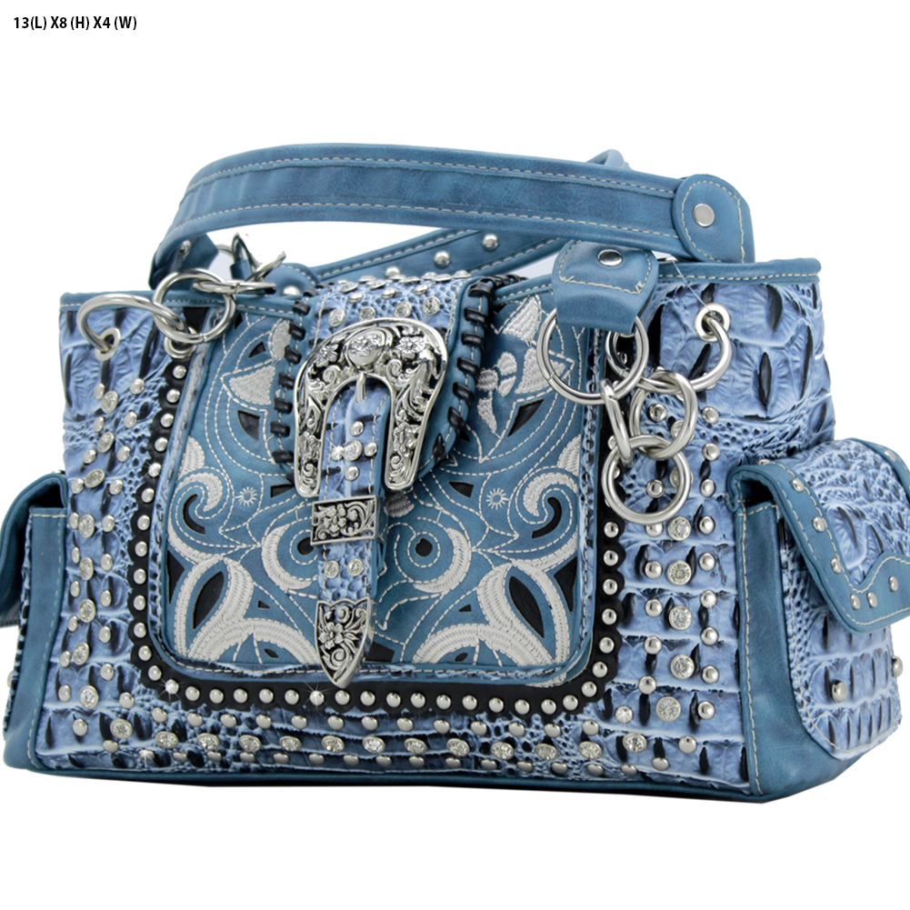 Rhinestone Buckle Purses - CRO-93-BLUE Western Concealed Carry Weapon Buckle Handbags Embroidered Purses
