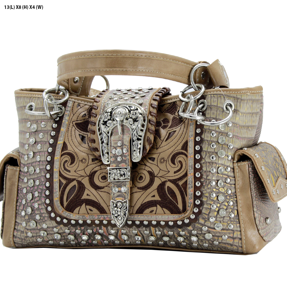 Rhinestone Buckle Purses - CRO-93-TAUPE Western Concealed Carry Weapon Buckle Handbags Embroidered Purses