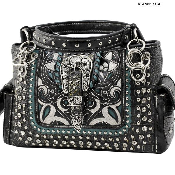 CRO-93-BLACK - WHOLESALE WESTERN BUCKLE PURSES CONCEALED CARRY WEAPON HANDBAGS