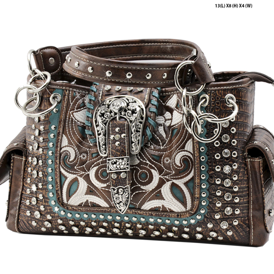 CRO-93-BROWN - WHOLESALE WESTERN BUCKLE PURSES CONCEALED CARRY WEAPON HANDBAGS