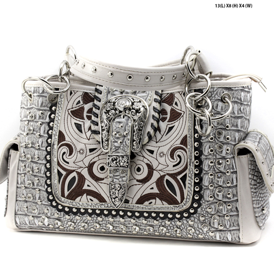 CRO-93-BONE - WHOLESALE WESTERN BUCKLE PURSES CONCEALED CARRY WEAPON HANDBAGS